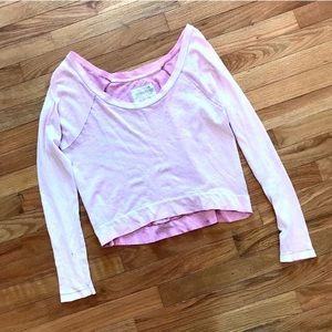 Free people light pink cropped long sleeve tee